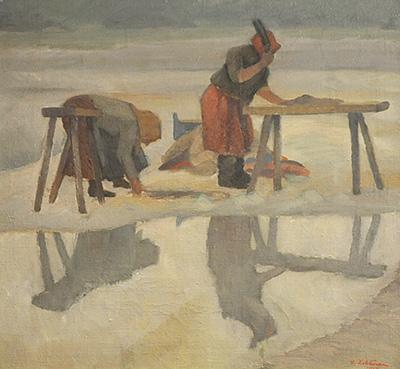 Urho Lehtinen: Pyykinpoukuttajat, 1918. Jyväskylän taidemuseon kuva-arkisto