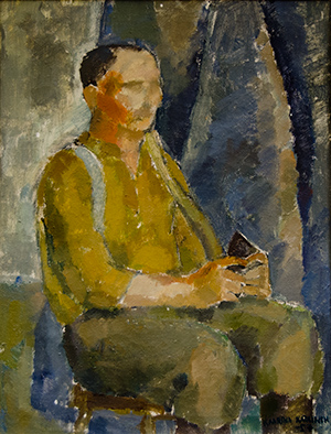 Kaarina Katainen: Istuva, 1957, öljymaalaus.  Helmer Selinin muotokuva. Jyväskylän taidemuseon kuva-arkisto. Darja Zaitsev.