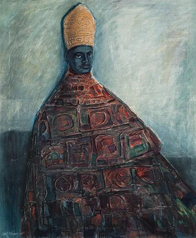 Onni Kosonen: Musta ruhtinas, 1968, öljymaalaus Jyväskylän taidemuseon kuva-arkisto. Jari Kuskelin
